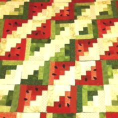 Watermelon Log Cabin inspiration - what a great picnic quilt this would be.