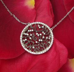 Lace pave Necklace with clear crystals, sterling silver