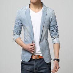 2017 New Spring Fashion Brand Men Blazer Men Trend Jeans Suits Casual Suit Jean Jacket Men Slim Fit Denim Jacket Suit Men Blazer With Jeans Men, Blue Blazer Men, Lässigen Jeans, Denim Blazer, Denim Jacket Men, Casual Blazer, Casual Jeans, Casual Suit, Denim Suit