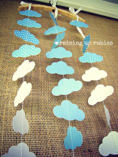 paper garland - clouds & polka dots - nursery baby shower decor. $16.00, via Etsy.