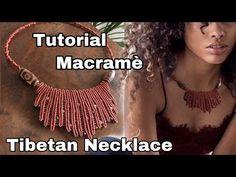 Tutorial Macramè Tibetan Necklace - Cobeads.com - YouTube Collar Macrame, Macrame Colar, Macrame Necklace, Macrame Knots, Macrame Jewelry, Macrame Bracelets, Diy Jewelry, Crochet Necklace, Jewelry Wall