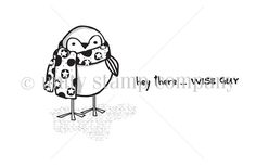 """Penguin measures approximately 1.5"""" x 2"""".  """"hey there...wise guy"""" sentiment measures approximately .25"""" x 1.75""""."""