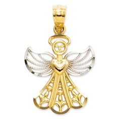 Versil 14k Gold Filigree Angel Pendant