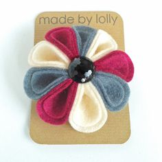 Felt Flower Harlequin Corsage in Hot Pink Grey and Cream