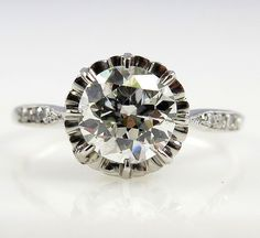 GIA VVS2 ....Edwardian 1.04ct Antique Vintage OLD European Cut Diamond Engagement Platinum Ring