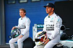 Lewis Hamilton, Mercedes AMG F1, an team mate Nico Rosberg, Mercedes AMG F1 with the new Mercedes AMG F1 W06