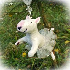 Christmass ornament for bullterrier lovers...small cute ballerina....