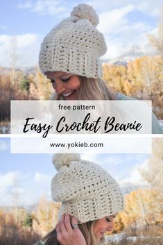 The perfect stylish, slouchy and cozy beanie! Affiliate linked Yarn - We Are Knitters The Wool in Natural Crochet Slouchy Beanie Pattern, Chunky Crochet Hat, Beanie Pattern Free, Easy Crochet, Free Crochet, Crochet Hats, Beginner Crochet, Crochet Dolls, Free Pattern