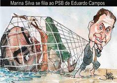 Charge do dia: Marina Silva se filia ao PSB de Eduardo Campos | S1 Notícias