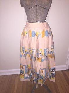 Vintage 50s Rockabilly Pleated Kitschy Art Circle Skirt #50Fashion