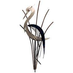 "Heron Bird With Head Lowered Metal Wall Art 36"" high. 18"" wide.3"" deep $237"
