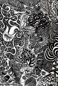 Abstract black and white psychedelic nature drawing. $12 ...