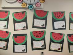 """We started off with a watermelon tasting.  We got together with the second grade class next door and sampled some ice cold, fresh watermelon (yummmm) and washed it down with watermelon-kiwi Kool-Aid.  When we returned to our classroom we proceeded to sample some """"sour"""" watermelon gummy candies (they weren't sour at all), some watermelon licorice, and some watermelon bubble gum.  They were thrilled to the bone when I told them they got to chew the gum all through the rest of math.  That's…"""