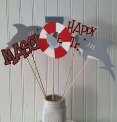 Shark birthday Check out this item in my Etsy shop https://www.etsy.com/listing/240094750/6-boy-shark-party-centerpiece-picks