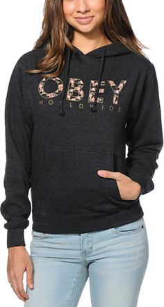 Obey Floral Worldwide Charcoal Pullover Hoodie at Zumiez $50