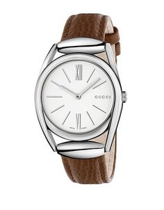 Gucci Diamantissima Stainless Steel Leather Strap Watch Women's Brown