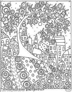 Tapete-Gancho-Craft-papel-padrao-de-redemoinho-De-Arvore-Passarinho-e-casas-de-Arte-Folclorica