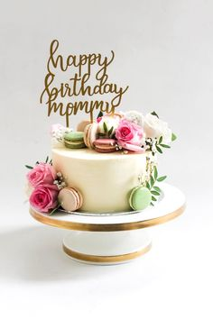 Elegant Birthday Cakes, Birthday Cake With Flowers, Beautiful Birthday Cakes, Birthday Cakes For Women, Beautiful Cakes, Mom Birthday Cakes, 50th Birthday Ideas For Women, 60th Birthday, Birthday Wishes