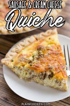 Sausage and Cream Cheese Quiche - Plain Chicken Sausage Quiche, Cheese Quiche, Cheddar Cheese, Keto Quiche, Frittata, Quiche Recipes, Brunch Recipes, Quiche Ideas, Brunch Ideas