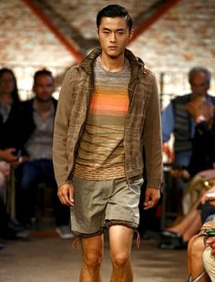 Jacket, sweater and drawstring shorts from Missoni's Spring/Summer '12 men's collection