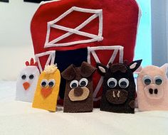 "Farm animal finger puppets with barn theater/storage bag... and so easy to make ready for ""Old MacDonald had a farm""!"