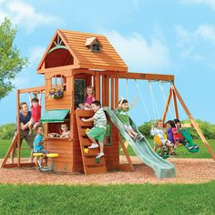 "Big Backyard Ridgeview Clubhouse Deluxe Wood Swing Set - Big Backyard - Toys ""R"" Us Cedar Swing Sets, Wood Swing Sets, Backyard Toys, Big Backyard, Backyard Playground, Backyard Playhouse, Natural Playground, Backyard Paradise, Playground Ideas"
