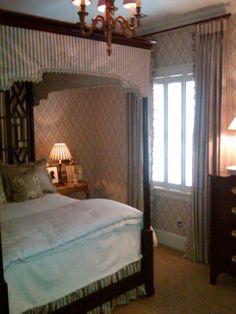 Mark Phelps Interiors. Bed Canopy and drapery by Custom Window Treatments, Inc.