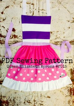 Queen Elizabeth Aprons copyright© 2015 and beyond. This pattern is for personal use only. Finished product may not be used for Retail or Commercial use or resale. Written in US measurements. English language only.  This listing is for a Sewing Pattern to make your own Doc McStuffins Child Apron. A PDF file will be available for download immediately after purchase. You can easily print it out from your computer. Click here to purchase the finished apron…