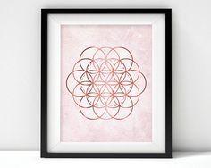 Printable Art Downloadable Print Flower of Life pink rose