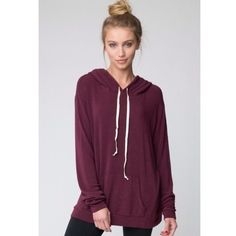 Brandy Melville maroon Layla hoodie Brandy Melville Layla hoodie✨ Pre-loved, still in good condition. A bit of color fading in the strings but not really noticeable. Can fit a medium-large (it's very versatile); I am a size XS-S and it still looks good on me too  Brandy Melville Tops Sweatshirts & Hoodies