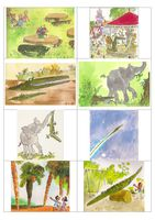 Cut out the eight pictures and children can put them in the correct order and tell the story using the pictures as prompts. They can then choose four pictu. Roald Dahl Activities, Book Activities, School Displays, Classroom Displays, Crocodile Pictures, The Enormous Crocodile, Story Sequencing, Book Study, Readers Workshop