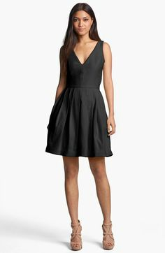 Halston Heritage V-Neck Fit & Flare Dress | Nordstrom simple clean lines (with pockets?!)