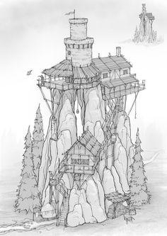Badland Buildings, Daniel Allison - Fantasy Worlds - Fantasy City, Fantasy House, Fantasy Map, Fantasy Places, Fantasy Kunst, Medieval Fantasy, Fantasy World, Medieval Tower, Fantasy Art Landscapes