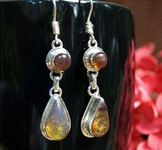 315662181 Dominican Blue Amber Dangle Earrings Sterling Silver Teardrop Round  Caribbean Dream Green Purple stone 925 OOAK