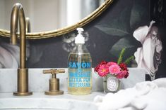 {Petit florals in the powder room}
