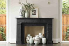 Image Result For Black Marble Fireplace