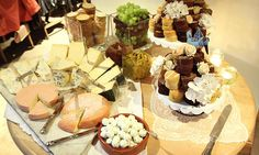 Cheese and wedding cake table