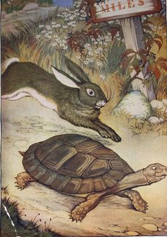 Vintage Aesop's Fables 1919 Childrens Illustration- The Hare and The Tortoise