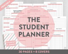 Student Planner, Printable Student Planner, Academic Planner, Back to School, College Planner, School Planner, School Supply, Study Planner Back to School again and here's the NEW Printable Pink Student Planner!  The Pink Study Planner can be used for Middle School, High School and College Students. Contains 38 pages with the essential pages to keep track your class assignments, reading, projects, exams and more.