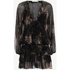 Elizabeth and James Beatriza Print Dress (26.315 RUB) ❤ liked on Polyvore featuring dresses, multi, frilly dresses, transparent dress, long sleeve ruffle dress, see-through dresses and flounce dress