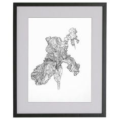 Abstract Flower Ink Drawing Framed Art Ink Drawing by REdeFINEART #drawing #flowers #homedecor #wallart #shoplocal #illustration