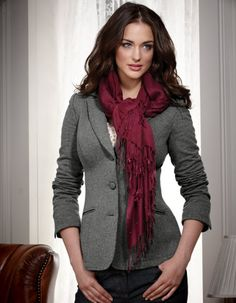 I have this jacket and love it  -Jersey Blazer from Bravissimo and my T2 red velour ruffle scarf from Dressing Your Truth online Store is perfect with it - same color as pictured.
