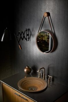Bourbon bronze bathroom with black wallpaper and an artisan sink Wall Hung Toilet, Downstairs Toilet, Widespread Bathroom Faucet, Bathroom Faucets, Washroom, Cute Shower Curtains, Bronze Bathroom, White Bathroom, House And Home Magazine