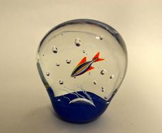 "MURANO GLASS VINTAGE ""TROPIC FISH AQUARIUM"" GLASS PAPERWEIGHT, GOLD SEAL, ITALY 