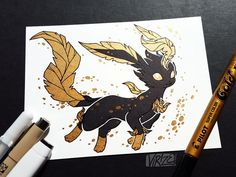 Amazing black and gold leafeon fan art 🤯beautiful! These shiny black and metallic gold eeveelution illustrations are stunning.