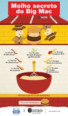 Receita ilustrada Molho especial do Big Mac Food N, Diy Food, Food And Drink, Big Mac, Yummy Food, Tasty, Food Truck, Love Food, Easy Meals