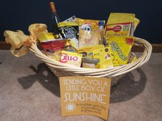 You are my sunshine basket. Full of yellow goodies. Based on a basket I received from a friend. Box Of Sunshine, You Are My Sunshine, Little Boxes, Blessing, Paper Shopping Bag, Goodies, Presents, Basket, Baby Shower