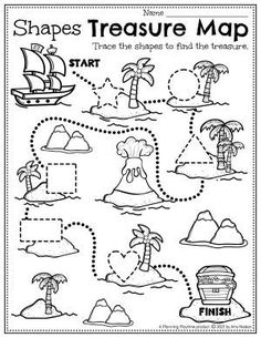 Trace Shapes to follow the Pirate's Treasure Map! - Preschool Pirate Worksheets