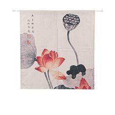 Amazon|Shinnwa(シンワ)おしゃれ のれん リネン 中華風水墨画 目隠し暖簾 高画質プリント ロングカーテン 綿麻制 約85cm幅×150cm丈 小さい花|のれん オンライン通販