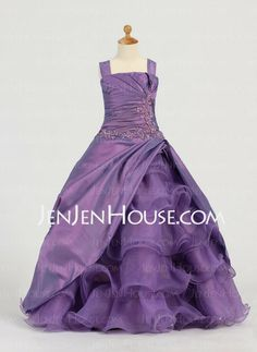 Flower Girl Dresses - $103.49 - A-Line/Princess Strapless Floor-Length Taffeta  Organza Flower Girl Dresses With Ruffle  Beading (010005784)   But in Red of course
